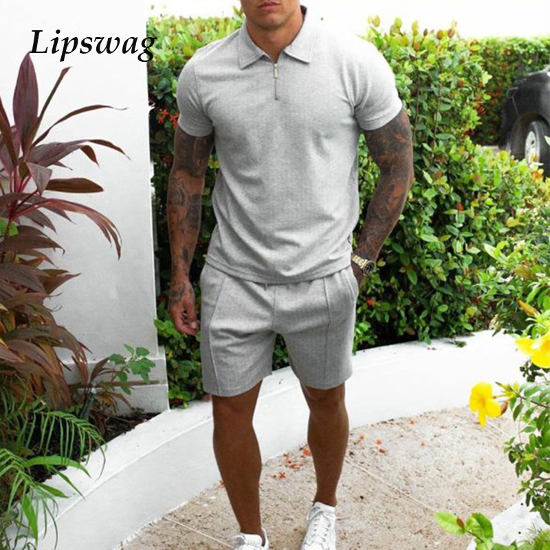 Summer Two Piece Set Men Casual Short Sleeve Zipper Lapel Tees & Drawstring Shorts Suits Outfit Mens 2021 Fashion Slim Tracksuit