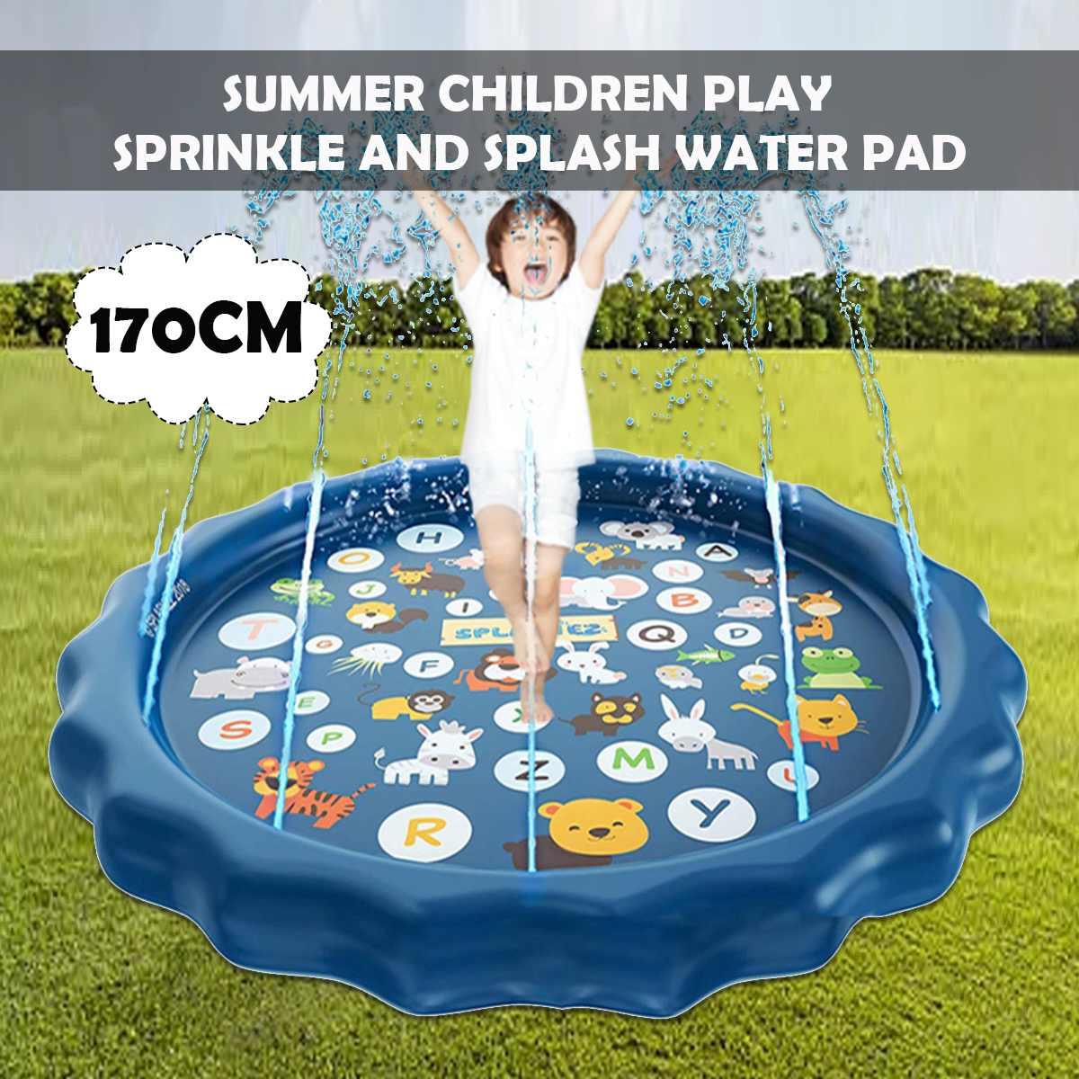 170cm Sprinkle Splash Play Mat Fun Summer Spray ToysInflatable Splash Pad Outdoor Water Toys For Children Kids Toddlers