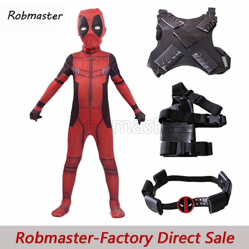 Kid Deadpool Costume Superhero Cosplay Suit With Mask Holster Strap Belt Boy Spandex Zentai Bodysuit Halloween Kid Costumes