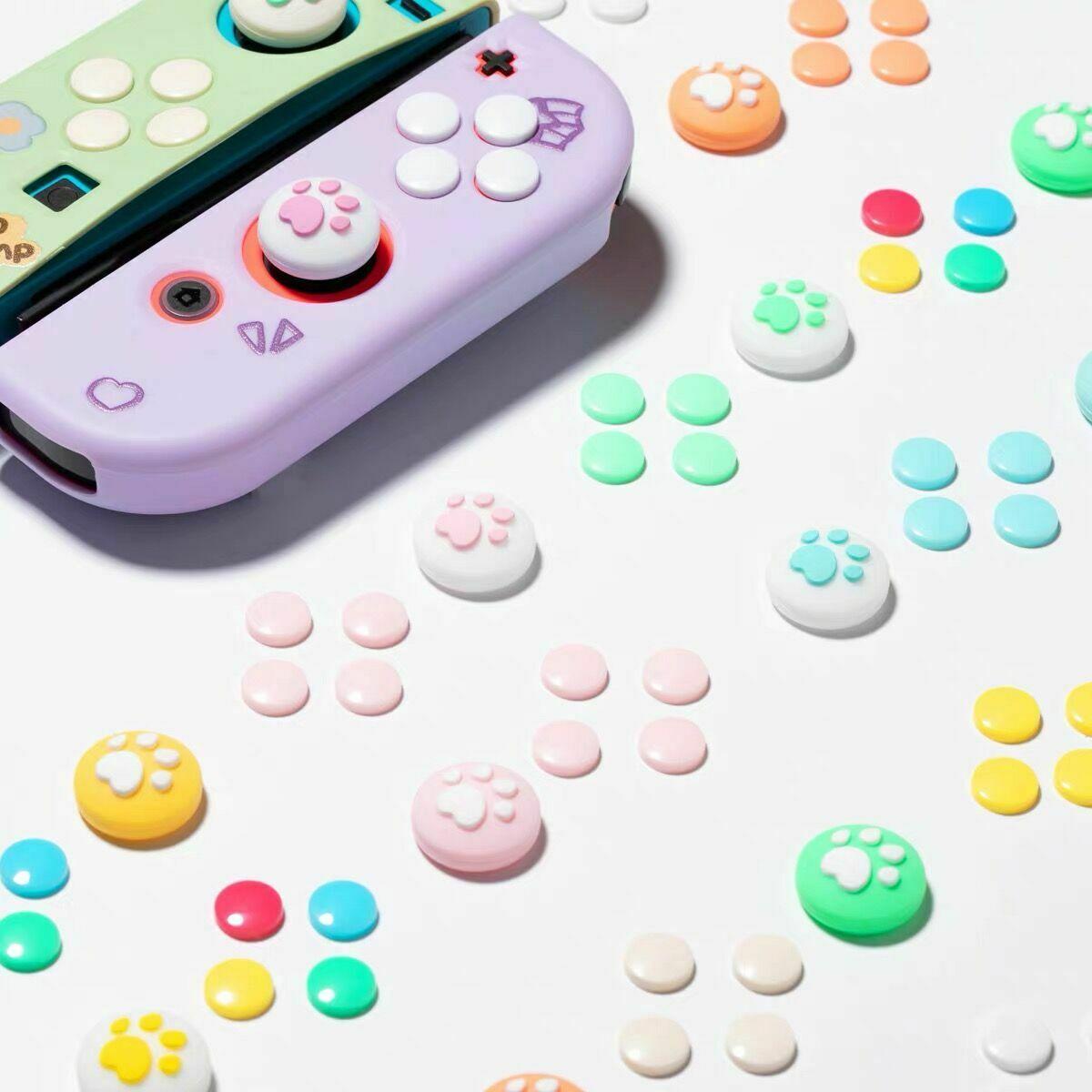 1 Juego de Pata de Gato pulgar tapas de cubierta y 8 Uds ABXY direcciones clave botones pegatina para interruptor de Nintendo Con Joystick Accesorios y piezas de reemplazo    -