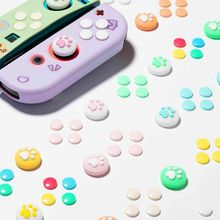 1Set Silicone Cat Paw Thumb Grip Caps Cover & 8Pcs ABXY Directions Key Buttons Sticker for Nintendo Switch Joy Con Joystick