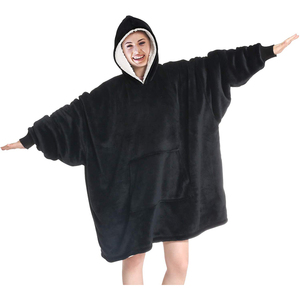 Image 1 - Oversized Hoodies Sweatshirts Women Plaid Blanket Wearable Hoodie Blanket with Sleeves Winter Hooded Sweatshirts Sherpa Blanket