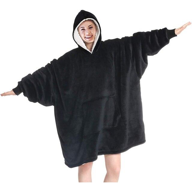 Oversized Hoodies Sweatshirts Women Plaid Blanket Wearable Hoodie Blanket with Sleeves Winter Hooded Sweatshirts Sherpa Blanket