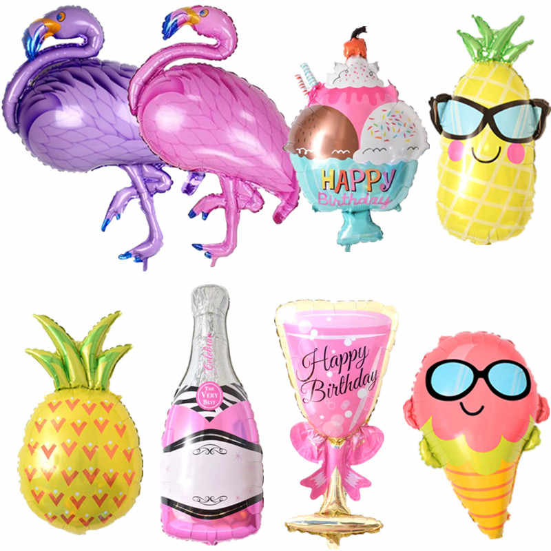 Birthday Balloons Flamingo/Pineapple/Beer cup Foil Balloon Birthday Decoration Kids Adult Party Beach Party Helium Air Globos