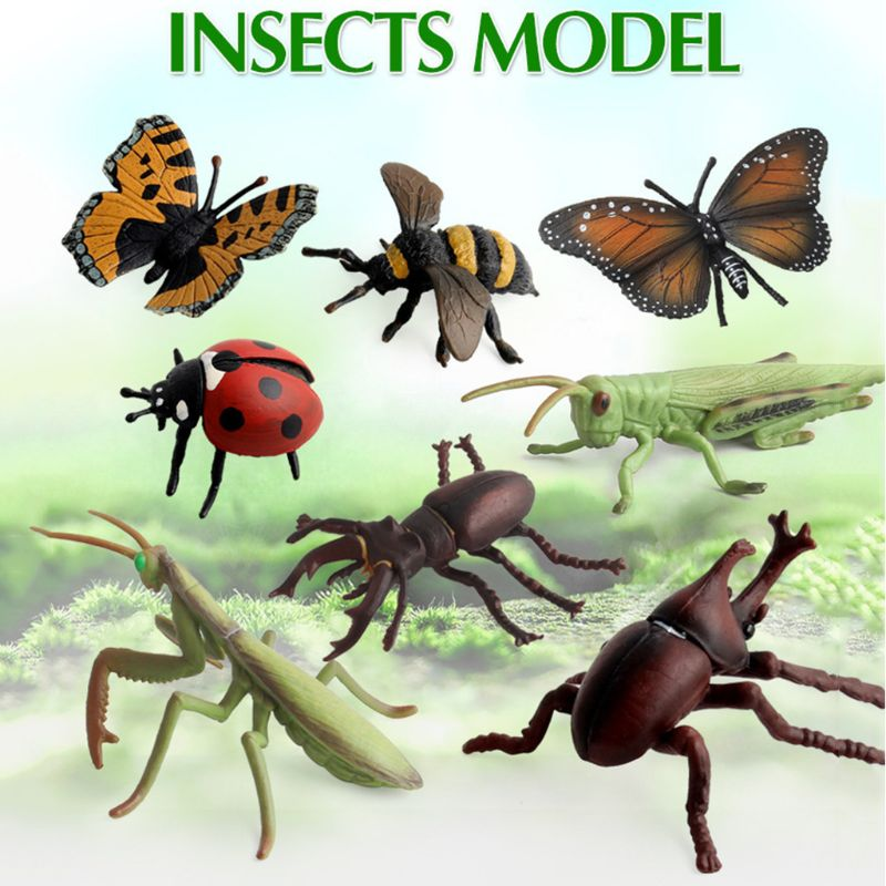 12Pcs/Lot Insect Models Figurines Kid Cognitive Animal Toys Early Education Toys 72XC image