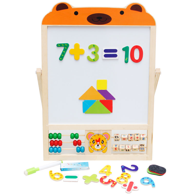 Double-Sided Painted Magnetic Black Whiteboard Solid Wood Baby Doing Homework Sketchpad Easel Children Early Education Toy