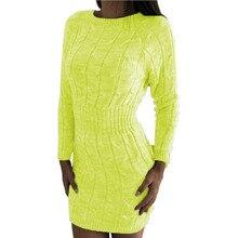 2019 autumn and winter new sweaters long bag hip waist twist sweater dress