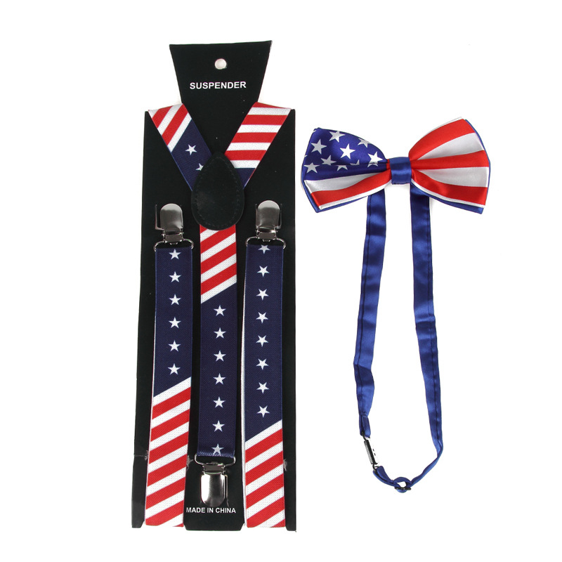 AliExpress Hot Sales Suspenders America National Flag Bei Dai Jia + Bowtie Set For Both Men And Women Suspenders
