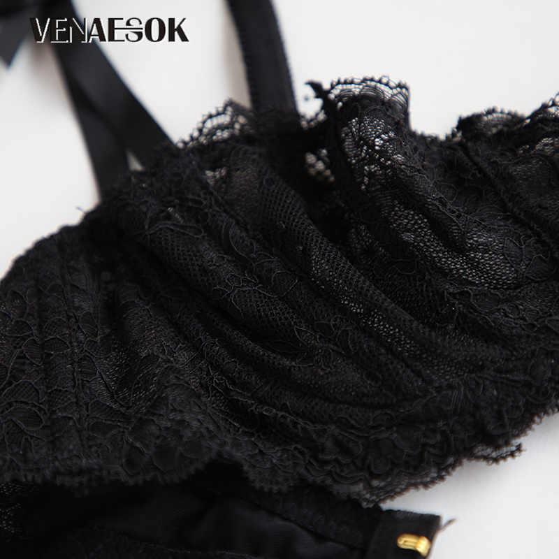 2019 bordado flores ultrafinos plus size sutiã roupa interior branco mulher transparente lingerie sexy sutiã de renda meia xícara b c d preto