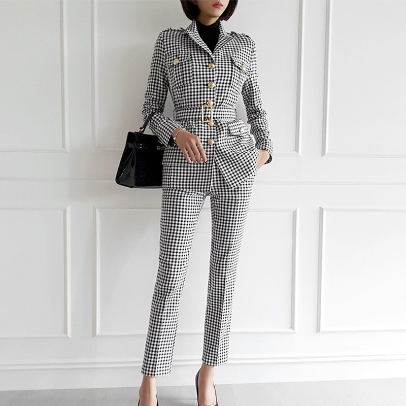 2019 New Fashion Slim Women's Suit Two-piece Temperament Single-breasted Winter Plaid Blazer Casual Pants Suit Business Set