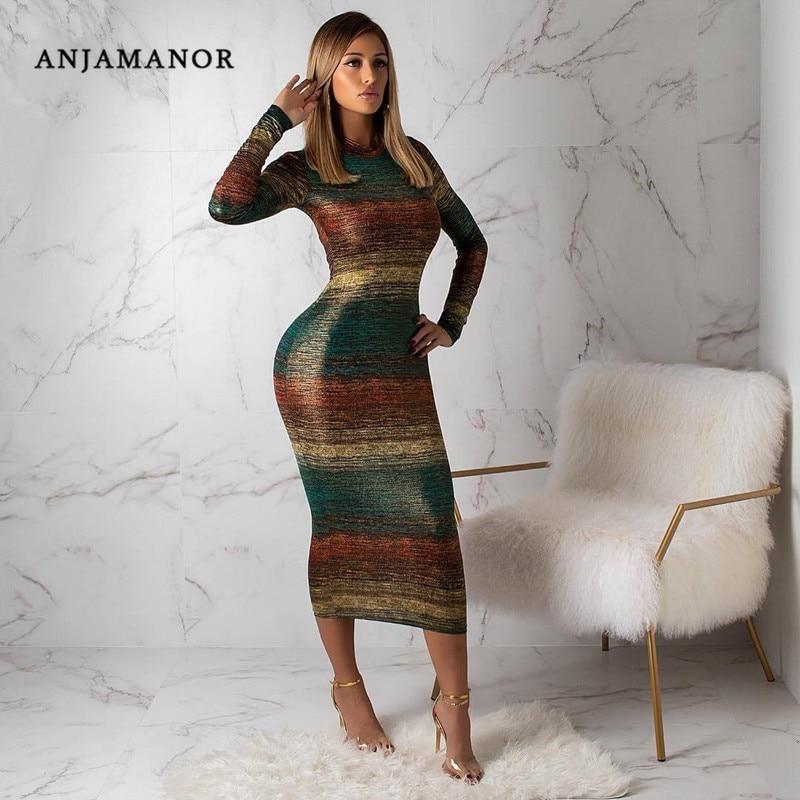 ANJAMANOR Gradient Color Striped Print Long Sleeve Bodycon Dress Women Sexy Club Bandage Dresses 2019 Fall Fashion D63-AC77
