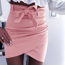 Vrouwen Mode Zomer Sexy Mini Rok Lady Hoge Taille Kruis Ontwerp Lace Up Taille Band Elegante Effen Kleur Bodycon Rok 2019 Nieuwe(China)