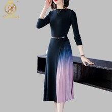 SMTHMA Новое весеннее женское Облегающее вязаное платье с длинными рукавами в стиле пэчворк плиссированное платье-свитер с градиентом