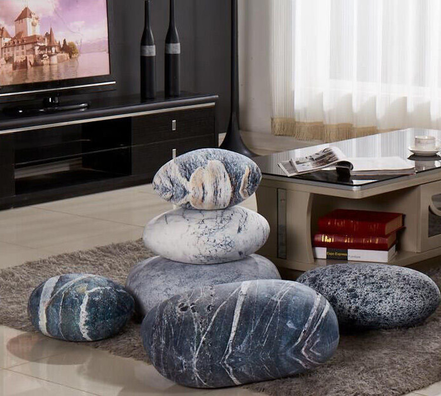 A Set( 6PCS) Pebble Stone Rock Shape Pillow Case/Cushion Covers Without Stuffing