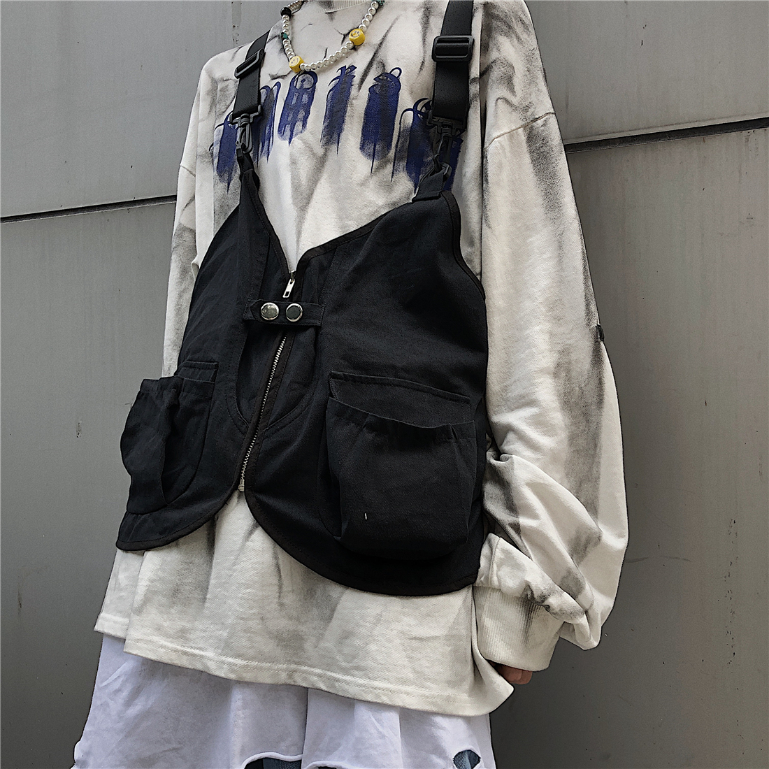 New Chest Bag Men Functional Vest Korea Harajuku Street Style Large Capacity Crossbody Bag For Women Black Cotten Messenger Bag