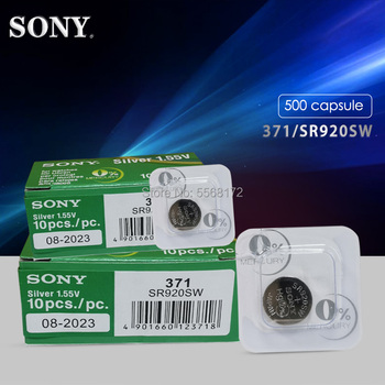 500Pcs/Lot SONY Brand New Single grain packing 1.55v 371 SR920SW LR69 LR920 AG6 Watch Battery Button Coin Cell MADE IN JAPAN