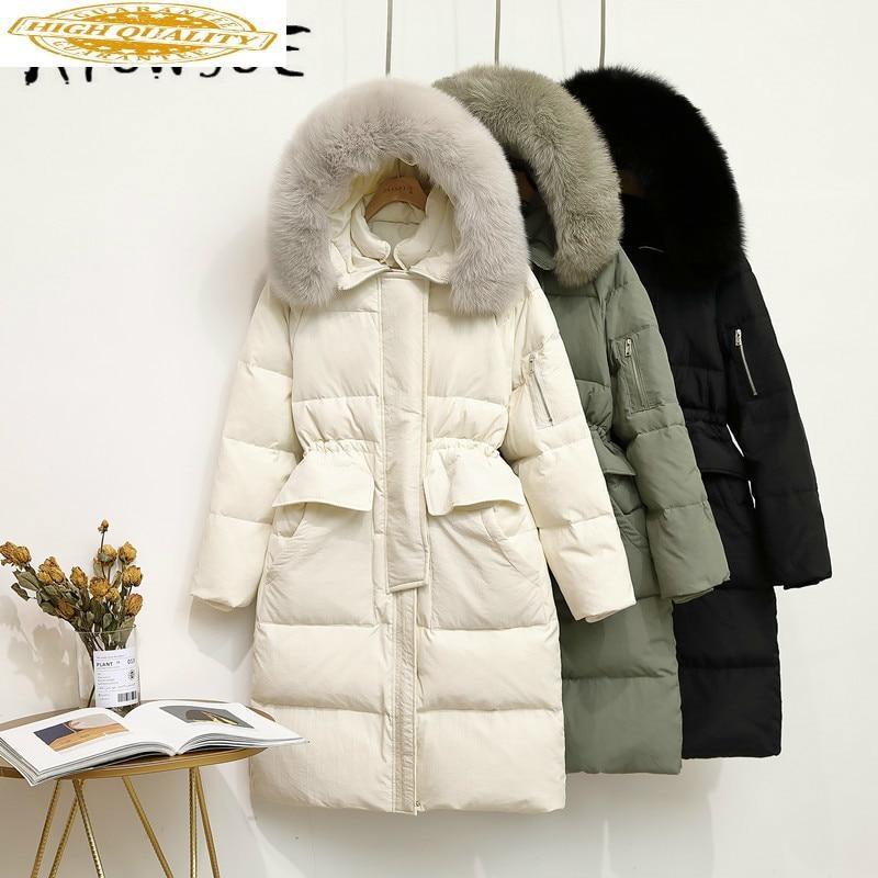 Winter Coat Women Parka White Duck Down Jacket Women Down Coat Big Fur Collar Puffer Jacket Warm Casaco ZQ0099 YY1416