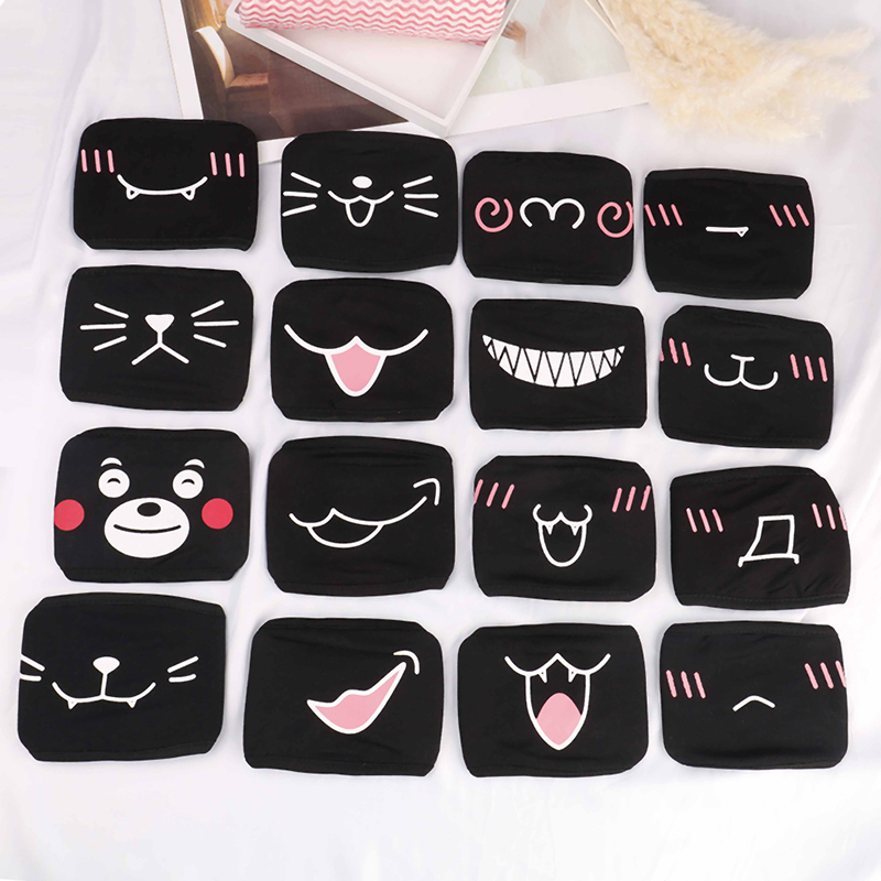Black Unisex For Female Male Face Mask Cotton Anime Mouth Mask Anti-dust Pollution Masks Cute Masker Unisex For Woman Man