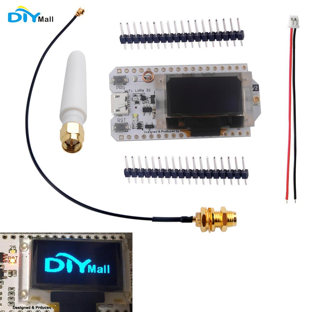 0 96 OLED ESP32 Development Board V2 LoRa Module Wifi Transceiver IOT SX1276 868MHz Antenna 1 25mm JST Battery Connector in Home Automation Modules from Consumer Electronics