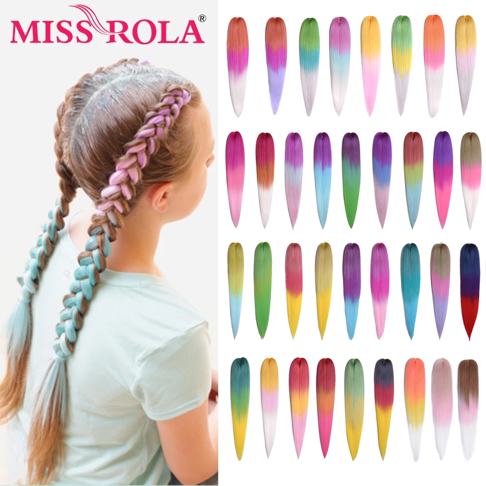 Miss Rola 24 Inches100g Yaki прямые синтетические волосы для наращивания предварительно растягивающиеся светлые розовые огромные косички оптовая прод...