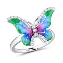 100% 925 Sterling Silver Flower Rings Women Color Beautiful Butterfly Enamel Ring For Fashion Jewelry