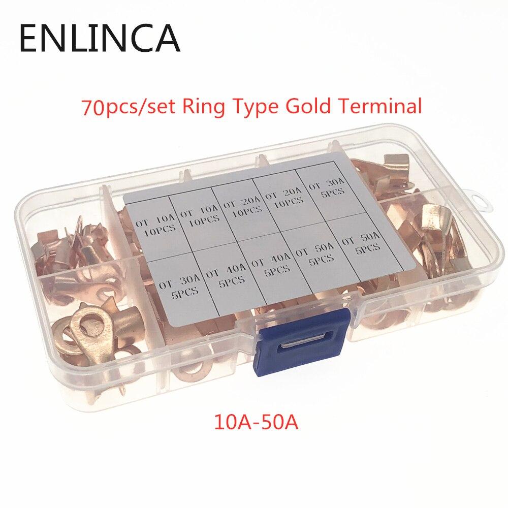 70 шт./компл. кольцо Тип золото терминалы золотой латуни Non-изолированных обжимных разъёмов, коннекторов для разъемы 3,2 мм-10,2 мм кабель