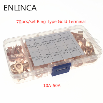 70pcs/set Ring Type Gold Terminals Golden Brass Non-insulated Crimp Terminals Connectors 9.2-12.8mm Cable Wire Connectors