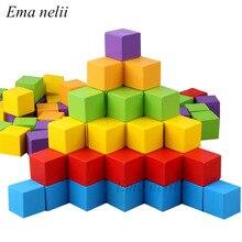 Bloques de construcción de madera cuadrados para niños, 20 unids/lote, 2x2cm, cubos coloridos, apilamiento, juguete de madera, forma de bebé, juguetes de aprendizaje de Color para niños