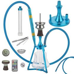 1set Portable Travel Modern Aluminum alloy Hookah Shisha Six Colors Narguile Nargile Smoking Water Pipe With LED Light  gift
