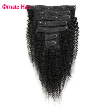 Clip in Human Hair Extensions Afro Kinky Curly Clip Ins Brazilian Remy Hair Extensions 7 pcs/set 100G Full Head Free Shipping clip in hair extensions natural human virgin brazilian hair clip ins afro kinky curly clip in hair extensions 10 26 inches in
