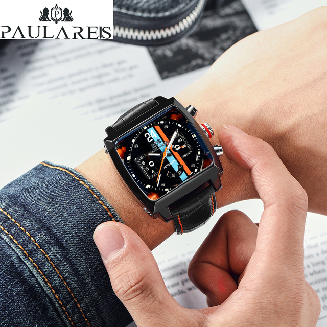 Automatic Self Wind Mechanical Genuine Leather Stainless Steel Black Orange Blue Casual Perspective See Through Men Watch 6