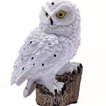 Cute White Owl Figurine Garden Statue Garden Lights Outdoor Owl with Solar Light lamp Garden Decoration Figures Lamp
