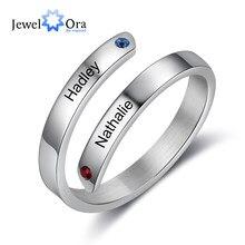JewelOra personalizzato incisione coppia nome anello da dito acciaio inossidabile personalizzato 2 pietre preziose anelli per donna regalo per fidanzata