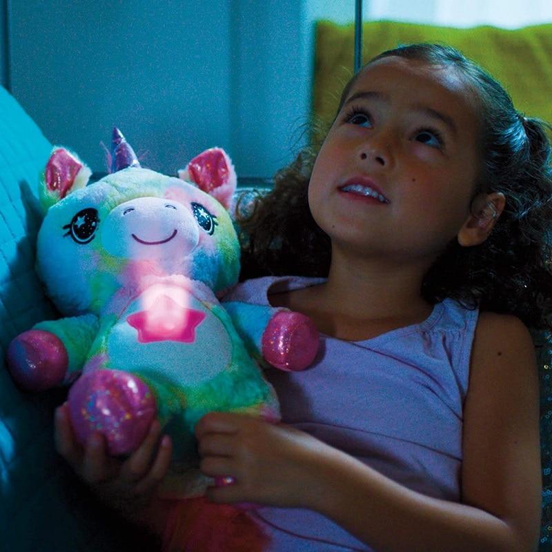 Animais de pelúcia com projetor de luz na barriga confortante brinquedo de pelúcia luz da noite filhote de cachorro estrela barriga sonho lites natal|Luzes noturnas|   -