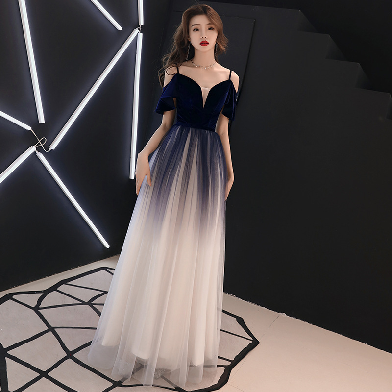 Evening Dress Navy Blue It's Yiiya R256 Gradient Spaghetti Srap Formal Gowns For Women A Line Long Special Occasion Dresses