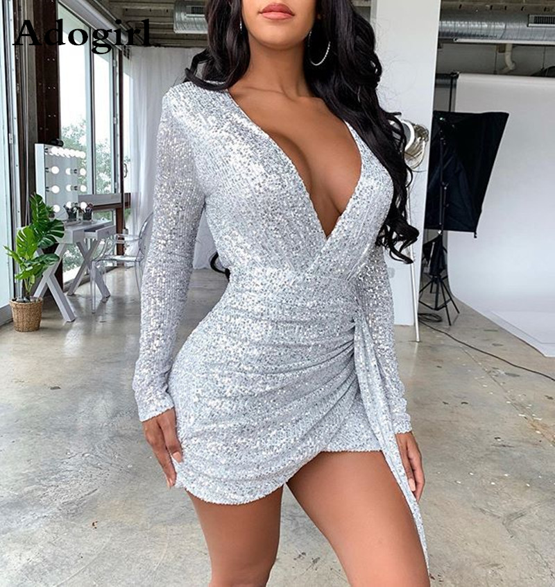 Women Silver Sequined Long Sleeve Irregular Hem Tunic Wrap V-neck Bodycon Mini Dress Party Dresses Night Club Vestidos