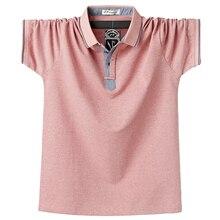 Мужская хлопковая рубашка поло, фиолетовая деловая рубашка поло размера плюс, 6XL, летняя повседневная рубашка