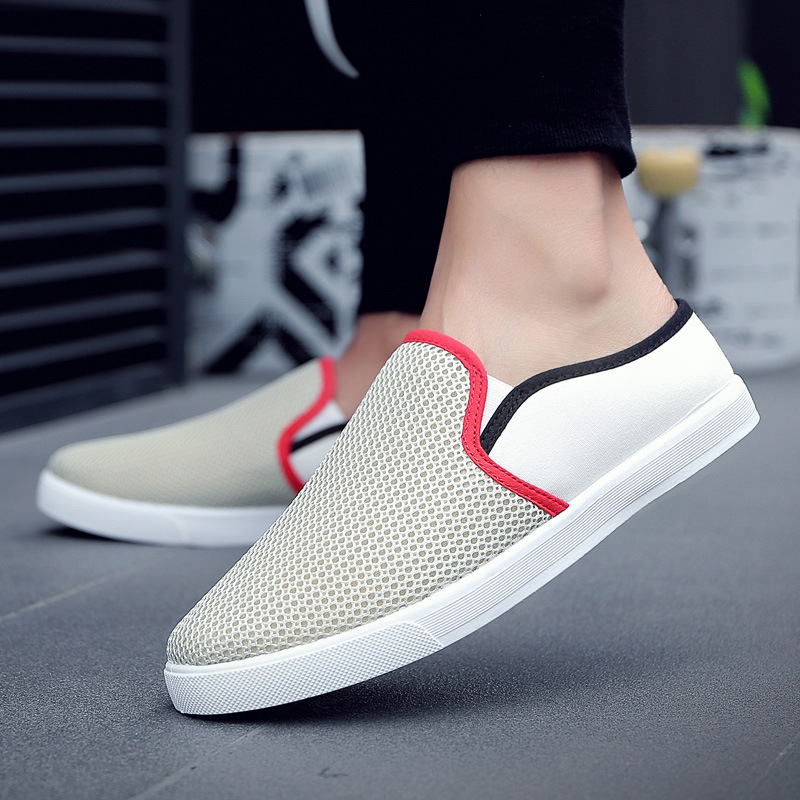 Spring And Autumn Casual Men's Shoes New Fashion Mesh Breathable Comfortable Casual Shoes Outdoor Lazy Half-Drag Light Running