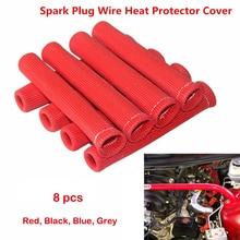 8 pcs จำนวนสีแดง 1200 องศา SPARK PLUG WIRE แขนป้องกันความร้อน SBC BBC 350 454 สำหรับ Ford สำหรับ Chevy สำหรับ GMC