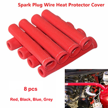 8pcs Spark Plug Wire Boots 6 inches 2500° Heat Shield Protector Sleeve SBC BBC 350 454 For GM Chevy Ford Red Blue Black