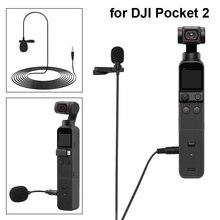 3.5mm Mini przenośny klip na klapie mikrofon kondensujący dla DJI Pocket 2 do it all uchwyt przewodowy mikrofon kamera kardanowa akcesoria