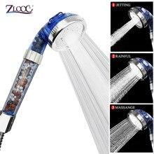 Zloog cabeça de banho de chuveiro 3 modo ajustável de alta pressão handheld bio-active pedra filtro de cabeça de chuveiro com bolas cerâmicas ativadas