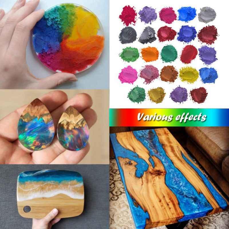 ผงสีไมกาชุดสำหรับ DIY Slime สบู่เทียนทำสีมุกสีย้อมเรซิ่น Bath BOMB แต่งหน้าและเล็บ ART