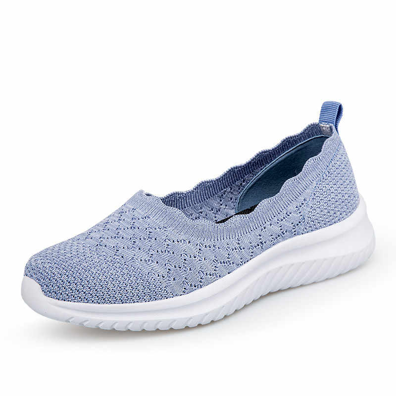 PINSEN 2020 새로운 패션 여성 신발 통기성 메쉬 여름 신발 여성 스 니 커 즈 슬립 온 발레 플랫 숙 녀 캐주얼 신발