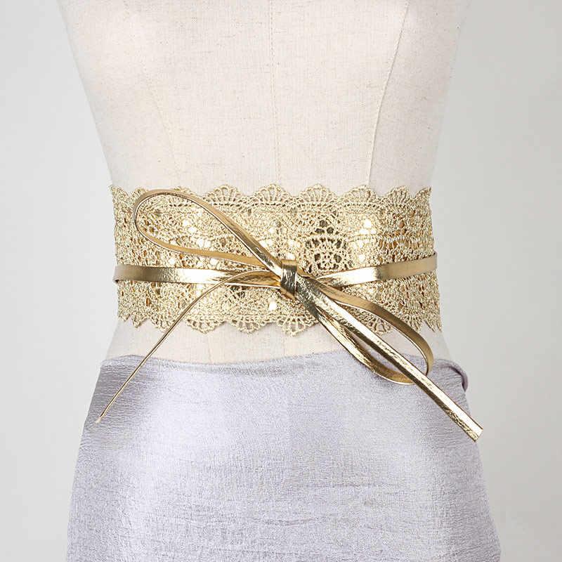 المرأة الخصر الفرقة الدانتيل بولي Leather الجلود الذاتي التعادل التفاف حول حزام Obi Cinch حزام ملابس wee889