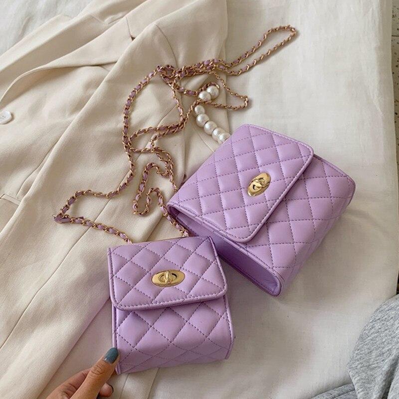 Женская сумка Кроссбоди из искусственной кожи, Классическая Фиолетовая Сумка через плечо с откидным клапаном и жемчужной цепочкой, 2019 Сумки с ручками    АлиЭкспресс