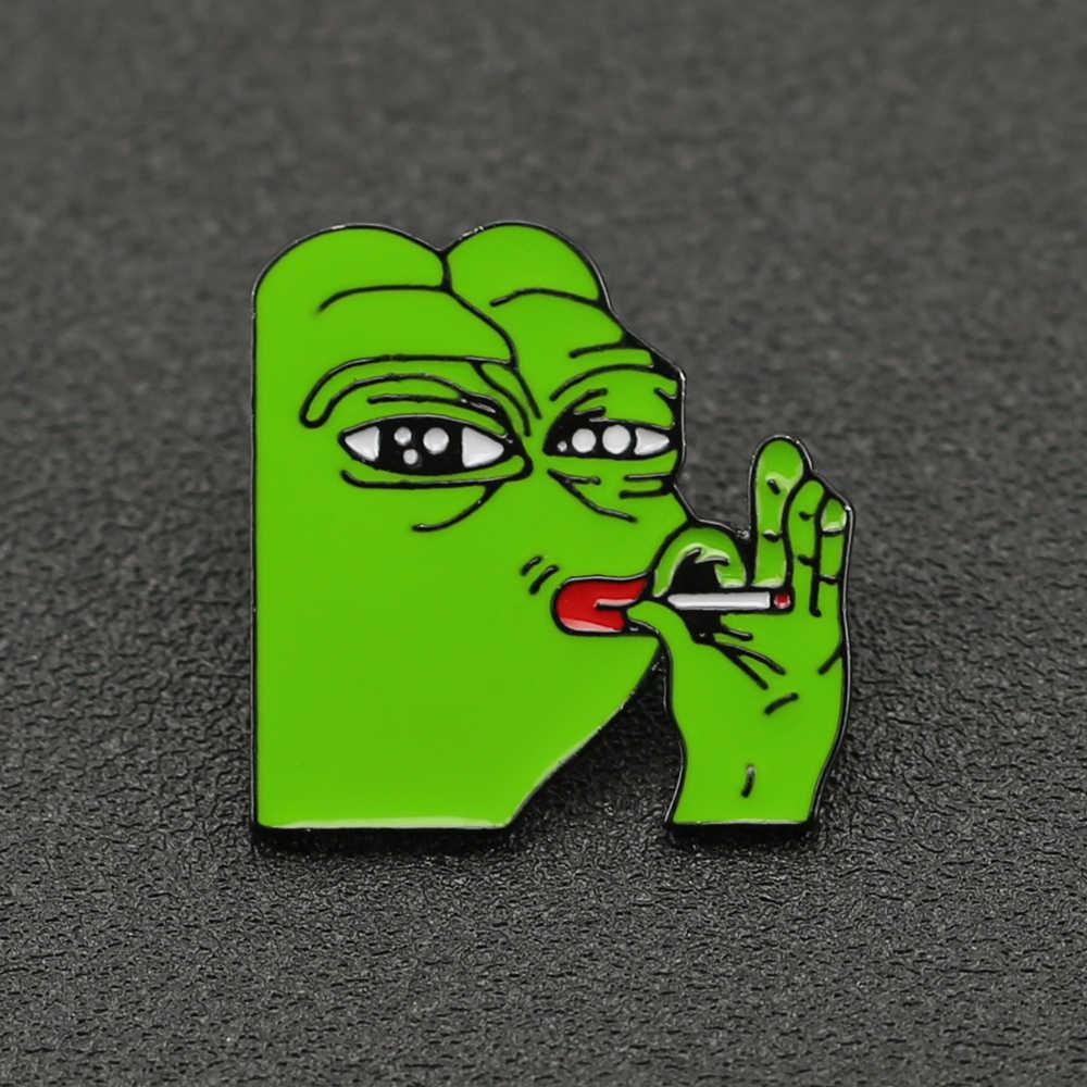กบ Pepe เข็มกลัด Pin SMILE Sad ตลก Pepe กบ Kermit Meme Enamel Badge POP วัฒนธรรมสัตว์การ์ตูนเครื่องประดับเด็กคลับขายส่ง