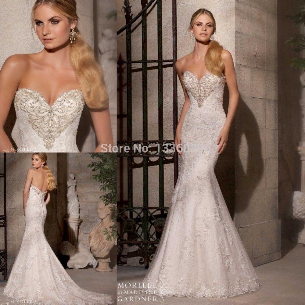 2019 Mermaid Wedding Dresses Sweetheart Beaded Tulle Sweep Train Bridal Gowns Vestidos De Novia 2015