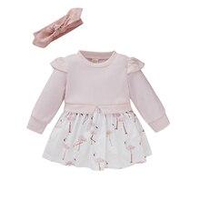 Малыш + дети + оборки + платье + фламинго + принт + шею + длинный + рукав + платья + с + повязкой на голову + для + малышей + девочек + розовый + 6 + месяцев-3 + лет