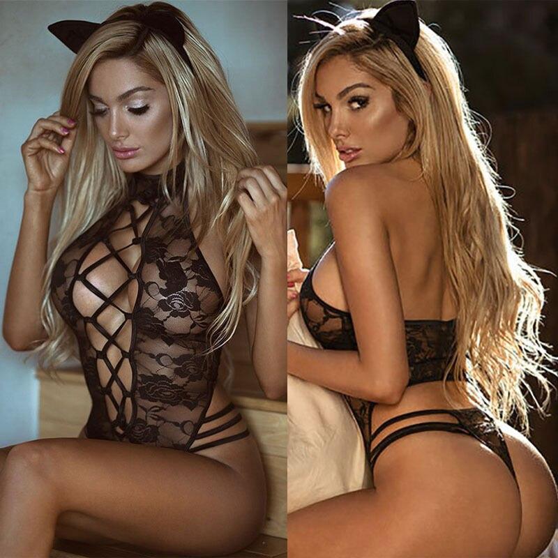 Sexy Black Lace Babydoll Women's Underwear Nightwear Sleepwear Sleep Tops Role Playing Cat Uniform Clothing Pajamas Women No Ear